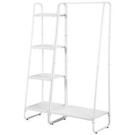 image-Guenther Heavy Duty Clothes Rail Metal Coat Stands With Shoe Rack Storage Cabinet Wardrobe 4 Tiers Ladder Bookshelf Shelving Unit Vintage Wood Willist