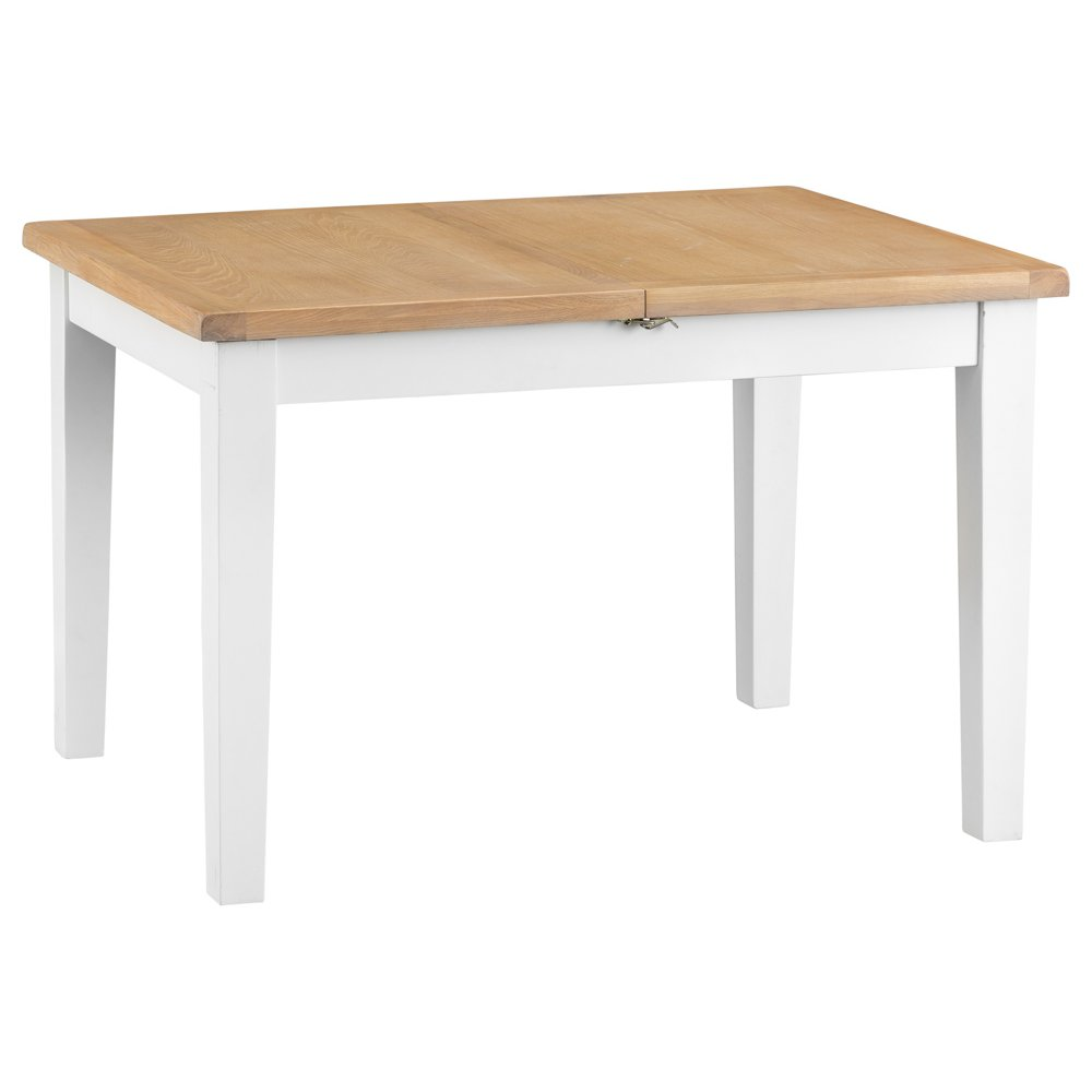 image-Eden Oak and White 120cm Butterfly Extending Table