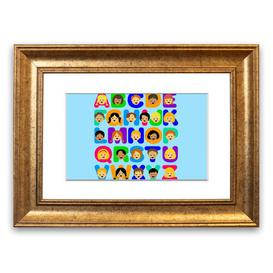 image-'Alphabet Children' Framed Graphic Art in Baby Blue East Urban Home Size: 93 cm H x 126 cm W, Frame Options: Gold