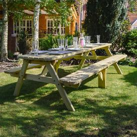 image-Oakham Rounded Picnic Bench Sol 72 Outdoor Finish: Light Green, Table Size: 240cm L x 140cm W