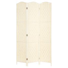image-Hartleys Solid Weave Hand Made Wicker Room Divider - Cream - 3 Panel