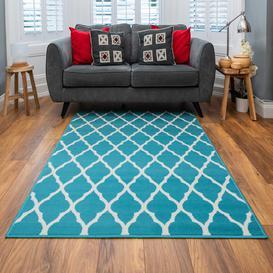 image-Teal Blue Moroccan Trellis Living Room Rug - Milan