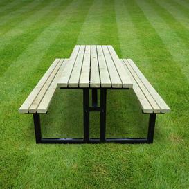 image-Reva Steel Picnic Benches Sol 72 Outdoor Colour: Light Green, Size: H 74cm x L 180cm x W 156cm