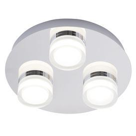 image-Bolton Bathroom 3 Light LED Flush Ceiling Spotlight Plate - Chrome