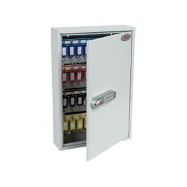 image-Phoenix KC0602N 64 Hook Key Commercial Key Cabinet With Netcode Electronic Lock, Light Grey