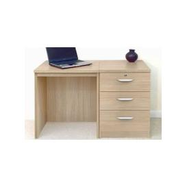 image-Small Office Desk Set With 3 Media Drawers (Sandstone)