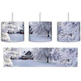 image-Winter Landscape with Huts 1-Light Drum Pendant East Urban Home Shade colour: White/Grey