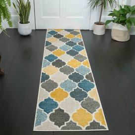 image-Soft Moroccan Tiled Pattern Yellow Blue Hall Runner Rugs - Westland
