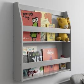 image-Hakan Display Shelf Bookcase Wall Mounted in Silk Grey Wood Finish: Si