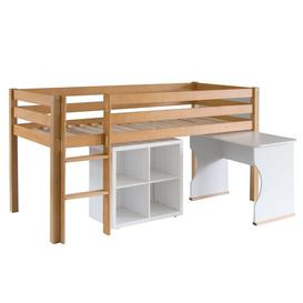 image-Karley European Single Mid Sleeper bed with storage bookcase & desk Isabelle & Max Colour Bed Frame: Natural Beech