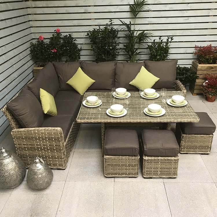image-Signature Weave Garden Furniture Katherine Corner Dining Sofa Set in 3 Weave Caramel