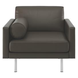 image-Spencer Grey Leather Armchair, Metal Legs, Grey