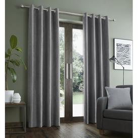 image-Faux Suade Eyelet Blackout Curtains Catherine Lansfield Colour: Grey, Panel Size: 168 W x 137 D cm
