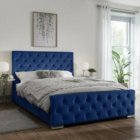image-Ivor Upholstered Bed Frame with Fabric Buttons Rosalind Wheeler
