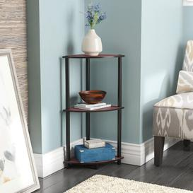 image-Corner Bookcase Wayfair Basics Colour: Dark Cherry/Black
