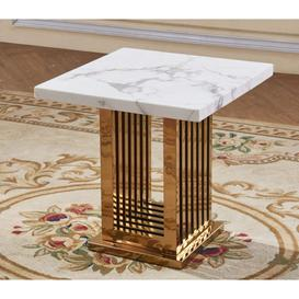 image-Soren White Marble Effect Lamp Table With Rose Gold Stainless&amphellip