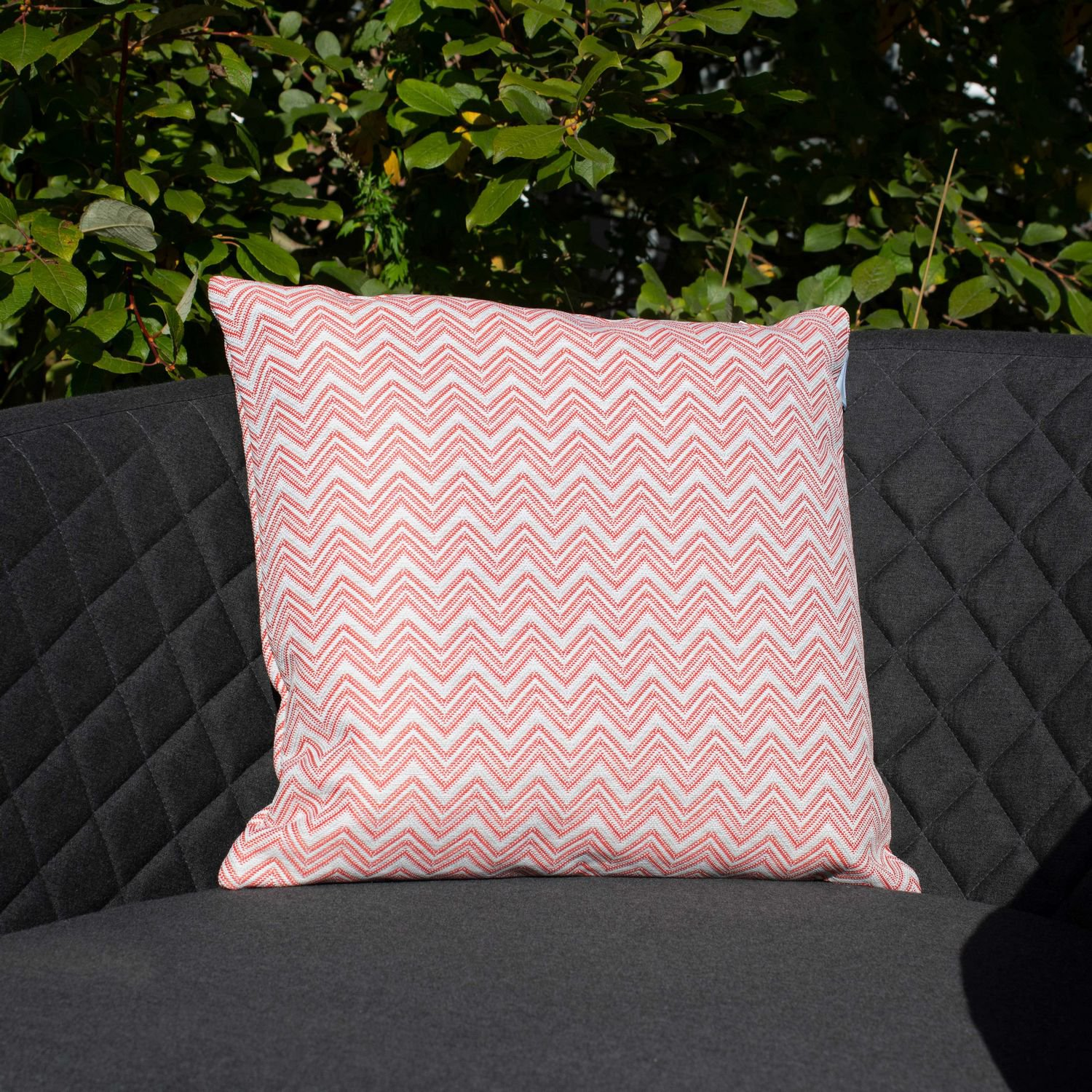 image-Maze Lounge Outdoor Fabric Scatter Cushion in Polines Red Pair