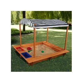 image-Kidkraft Childrens Outdoor Sandbox with Canopy