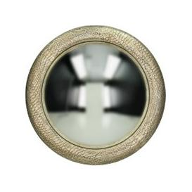 image-Burnished Silver Faux Snakeskin Convex Mirror