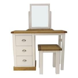 image-Asher 3 Piece Dressing Table Set with Mirror Set Fernleaf Colour: Waxed Oak