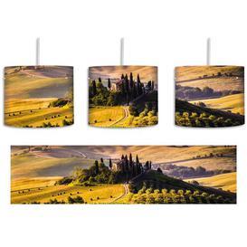 image-Beautiful Tuscan Landscape 1 Light Drum Pendant East Urban Home Shade Colour: Yellow