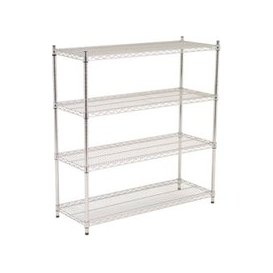 image-Chrome Shelving Starter Bay With 4 Shelves 1830wx1880h, Chrome, Free Next Day Delivery