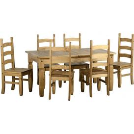 image-Corona Extending Dining Set (1+6) in Distressed Waxed Pine