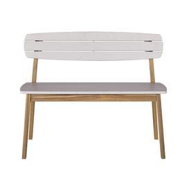 image-Children's garden bench in light grey solid acacia