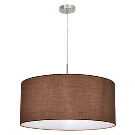 image-Eglo 31576 Pasteri One Light Ceiling Pendant Light In Satin Nickel With Taupe Fabric Shade -D: 530mm