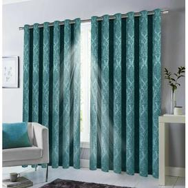 image-Kalyn Eyelet Blackout Thermal Curtains Marlow Home Co. Colour: Teal, Panel Size: 228.6 x 228.6cm