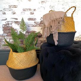 image-Black and Natural Seagrass Belly Basket Small