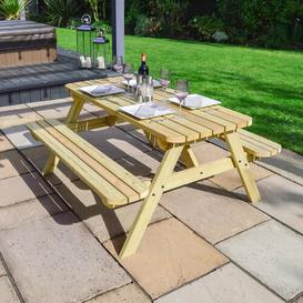 image-Oakham Rounded Picnic Bench Sol 72 Outdoor Finish: Light Green, Table Size: 120cm L x 140cm W