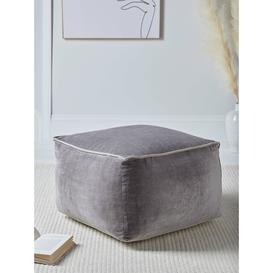 image-NEW Velvet Piped Square Pouffe - Grey