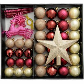 image-50 Piece Shatterproof Luxury Christmas Tree Ball Ornament Set Three Posts Colour: Berry/Aubergine