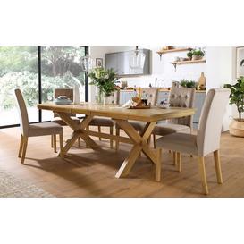 image-Grange Oak Extending Dining Table with 8 Regent Mink Velvet Chairs