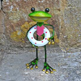 image-Gassville Metal Frog with Rubber Ring Decorative Statue Happy Larry