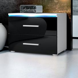 image-Faro 2 Drawer Bedside Table Vladon Colour: White (matt)/Black (glossy), Lighting included: No