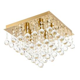 image-Orlando 5 Light Bathroom Square Flush Ceiling Light - Satin Brass