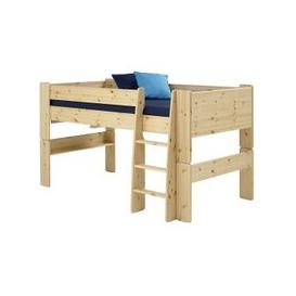 image-Pathos Wooden Mid Sleeper Bed In Pine With Ladder