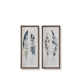 image-Graham & Brown Set Of 2 Painterly Feathers Framed Canvas