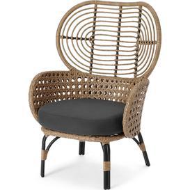 image-Swara Garden High back lounge Chair, Natural Polyrattan and Black