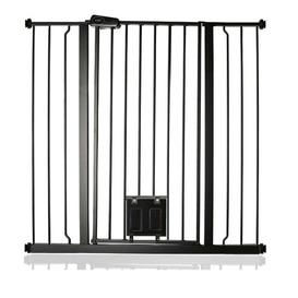 image-Maxen Safety Gate with Lockable Cat Flap Archie & Oscar Finish: Grey, Size: 104 cm H x 108.4cm W