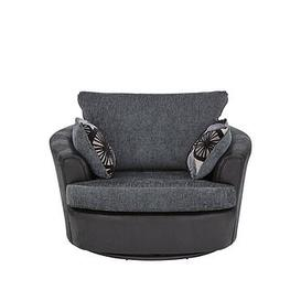 image-Marrakesh Fabric/Faux Snakeskin Swivel Chair