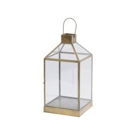 image-Darcy Glass Candle Lantern with Antique Brass Frame - Small