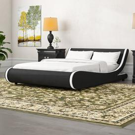 image-Upholstered Bed Frame Mercury Row Size: Double (4'6), Colour: Black/White