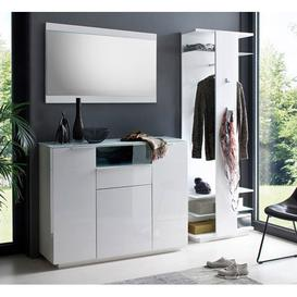 image-Canberra Hallway Furniture Set 3 In White High Gloss And Glass
