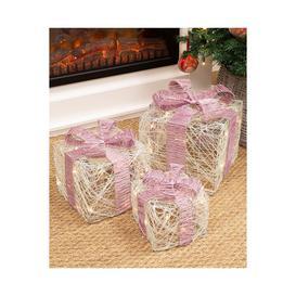 image-Set of 3 LED Light Up Xmas Gift Box with Pink Bow