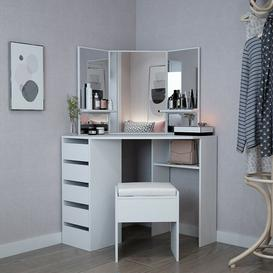 image-Corner Dressing Table Set White