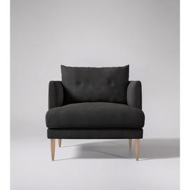 image-Swoon Kalmar Armchair in Slate Smart Leather With Light Feet