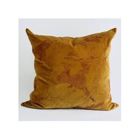 image-Taxidermy Birds Lux Velvet Cushion (colour: Gold)